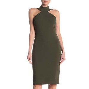 Bebe Women's Olive Green Mock Neck dress size 12